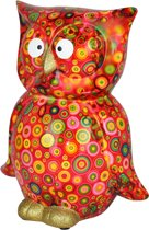 Uil Big Bo XL Spaarpot   Uil - Rood met gekleurde cirkels   Pomme pidou