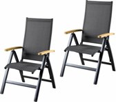 Suns Lucca Stoel Verstelbaar antraciet - Per 2 stuks - aluminium verstelbare stoel met teakhouten armleggers