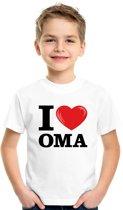 Wit I love Oma t-shirt kinderen L (146-152)