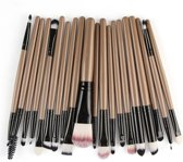 Evvie 20-delige make-up kwasten set - voor oogschaduw, lippenstift, concealer en foundation - br/zw