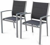 Set van 2 aluminium en textileen stoelen, opstapelbaar