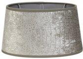 Lampenkap zilver velours grijs ovaal print 25-21-14