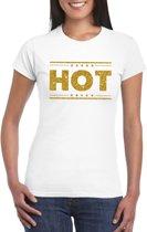 Hot t-shirt wit met gouden glitters dames 2XL