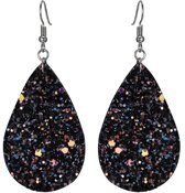 Fako Bijoux® - Oorbellen - Druppel - Glitter - Kunstleer - Zwart