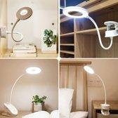 LED Bureaulamp met klem - LED Bedlamp met klem - 3 lichtstanden - Draadloze en oplaadbare LED lamp - 7000k - LED leeslamp met klem - Anno 1588 - Wit
