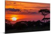 Uitzicht van de zonsondergang in het Nationaal park Serengeti in Tanzania Aluminium 90x60 cm - Foto print op Aluminium (metaal wanddecoratie)