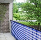 Delux Balkondoek - Balkonzeil - Balkonscherm - 500 x 90 | Blauw/Wit