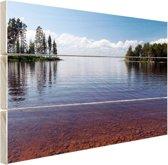 Zicht op het meer in de zomer Hout 30x20 cm - klein - Foto print op Hout (Wanddecoratie)