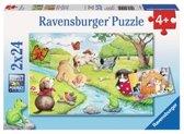 Ravensburger puzzel Spelende viervoeters 2 x 24 stukjes