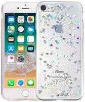 iPhone 8/7 Glitter Hoesje Hartjes Transparant