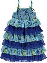Blue Seven Meisjeskleding - Blauw strokenjurkje zonder mouwen - 73291 - Maat 128