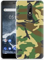 Nokia 5.1 Hoesje Army Camouflage Green