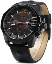 Curren 'Chief Copper' Heren Horloge - Koper/Zwart - Kunstleder - Ø 57 mm