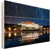 Sterrenhemel boven het Potalapaleis in Lhasa Vurenhout met planken 120x80 cm - Foto print op Hout (Wanddecoratie)