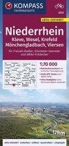 KOMPASS Fahrradkarte Niederrhein, Kleve, Wesel, Krefeld, Mönchengladbach, Viersen 1:70.000, FK 3323