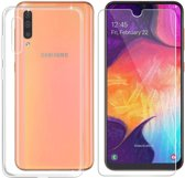 Samsung Galaxy A70 Hoesje Transparant TPU Siliconen Soft Case + Tempered Glass Screenprotector