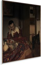 Slapend meisje - Schilderij van Johannes Vermeer Plexiglas 30x40 cm - klein - Foto print op Glas (Plexiglas wanddecoratie)