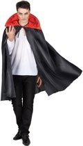 Zwarte cape met rode kraag Halloween - Verkleedattribuut