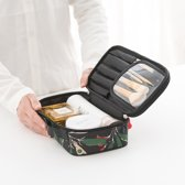 Compacte Cosmetica Tas Met Bloemenprint - Reistas voor Make Up - Zwart