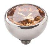 Melano twisted steen rond - Zilverkleurig + Champagne - Dames - 8mm