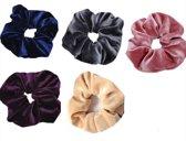 Scrunchie - Fluweel - Haarwikkel - Haar wokkel - Haar elastiek - Velvet - Roze - Navy - Grijs - Paars - Beige