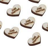 Houten tafelconfetti - Hartjes Just married (25 stuks)