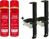 2x Prymosafe, Universele spray-blusser, inhoud 760 ml, 1 Brandblusser voor alle meest voorkomende beginnende branden inclusief 2 cliphouders.