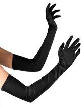 Lange zwarte handschoenen - Verkleedattribuut