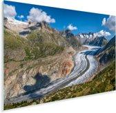 De Aletschgletsjer bij de Zwitserse Alpen Plexiglas 90x60 cm - Foto print op Glas (Plexiglas wanddecoratie)