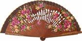 Spaanse waaier - Flamenco - luxe - bruin hout met bloemen - bij jurk