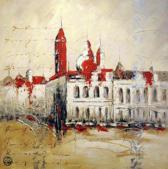 Stadsleven Schilderij 100cmx100cm