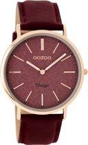 OOZOO Vintage Rosegoud Horloge  (40 mm) - Rood