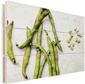 Tuinbonen die op marmeren ondergrond liggen Vurenhout met planken 60x40 cm - Foto print op Hout (Wanddecoratie)