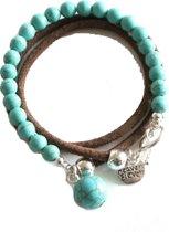 Heaven Eleven -  Leren wikkel armband met turquoise