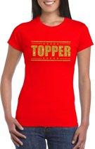 Topper t-shirt rood met gouden glitters dames S