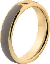 Melano Twisted Tracy resin ring - dames - goldplated + taupe resin - 5mm - maat 60