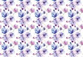 Fotobehang Flowers Pattern Purple   XXL - 312cm x 219cm   130g/m2 Vlies