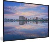 Foto in lijst - Skyline van de Chinese stad Harbin fotolijst zwart 60x40 cm - Poster in lijst (Wanddecoratie woonkamer / slaapkamer)