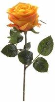 Kunstbloem Roos Simone geel/oranje 45 cm - kunstbloem