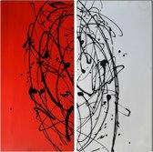 Schilderij 2 luik rood wit 80x80 Artello - Handgeschilderd - Woonkamer schilderij - Slaapkamer schilderij - Canvas - Modern