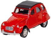 Welly Metalen citroen 2cv: 7,6 cm rood