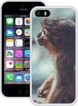 Case Creatives Telefoonhoesje Aap - iPhone 5 5s SE  Wit - Handgemaakt