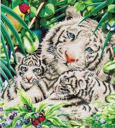 Diamond Dotz ® painting White Tiger & Cubs (52x52 cm) - Diamond Painting