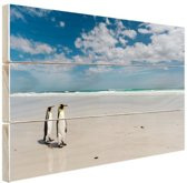Koningspinguins op het strand Hout 30x20 cm - klein - Foto print op Hout (Wanddecoratie)