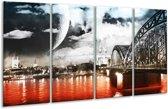 Glasschilderij Modern | Rood, Grijs, Zwart | 160x80cm 4Luik | Foto print op Glas |  F004409