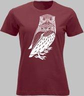 T-shirt V Twee bosuilen - Rood - V - XXL Sportshirt