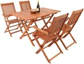 Tuinset - 4 stoelen en 1 tafel -  Acaciahout