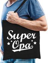 Cadeau tas zwart katoen met de tekst Super opa - kadotasje voor opa's