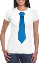 Wit t-shirt met blauwe stropdas dames 2XL