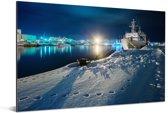 Een schip in de haven van Otaru in Hokkaido Aluminium 180x120 cm - Foto print op Aluminium (metaal wanddecoratie) XXL / Groot formaat!